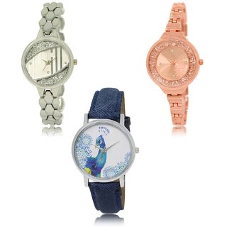 Neutron Modish 3D Design  Analogue Silver,Gold And Blue Color Girls And Women Watch - Gl223-Gl225-Gl241 (Combo Of  3 )