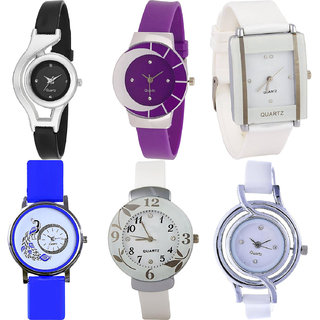 Neutron Treading Traditional World Cup,Peacock And Flower Analogue Black,Purple,White And Blue Color Girls And Women Watch - G1-G10-G17-G19-G28-G50 (Combo Of  6 )