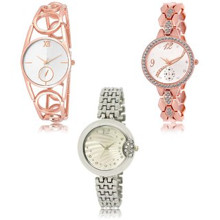 Neutron Latest Branded  Analogue Gold And Silver Color Girls And Women Watch - Gl213-Gl215-Gl227 (Combo Of  3 )