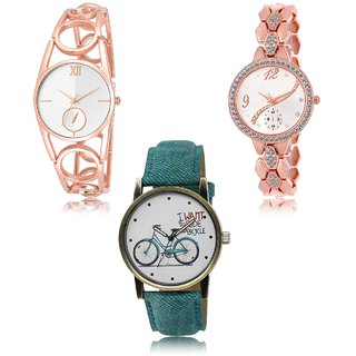 Neutron Latest Love  Analogue Gold And Blue Color Girls And Women Watch - Gl213-Gl215-Gl229 (Combo Of  3 )