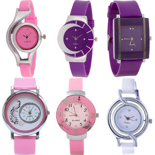 Neutron Modish Fancy World Cup,Peacock And Flower Analogue Pink,Purple And White Color Girls And Women Watch - G3-G10-G15-G20-G26-G50 (Combo Of  6 )