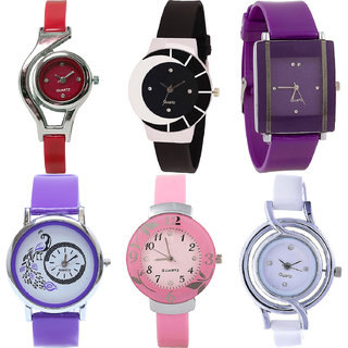 Neutron Latest Royal World Cup,Peacock And Flower Analogue Red,Black,Purple,Pink And White Color Girls And Women Watch - G5-G8-G15-G21-G26-G50 (Combo Of  6 )