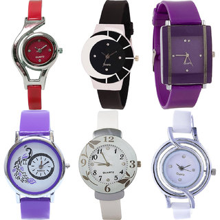 Neutron Latest Fancy World Cup,Peacock And Flower Analogue Red,Black,Purple And White Color Girls And Women Watch - G5-G8-G15-G21-G28-G50 (Combo Of  6 )