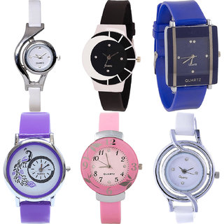 Neutron Treading Collection World Cup,Peacock And Flower Analogue White,Black,Blue,Purple And Pink Color Girls And Women Watch - G6-G8-G13-G21-G26-G50 (Combo Of  6 )