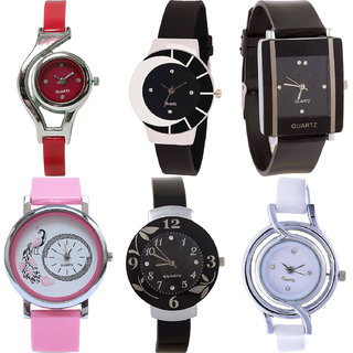 Neutron New Model World Cup,Peacock And Flower Analogue Red,Black,Pink And White Color Girls And Women Watch - G5-G8-G12-G20-G24-G50 (Combo Of  6 )