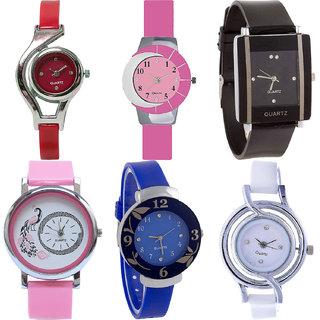 Neutron New Valentine World Cup,Peacock And Flower Analogue Red,Pink,Black,Blue And White Color Girls And Women Watch - G5-G9-G12-G20-G25-G50 (Combo Of  6 )