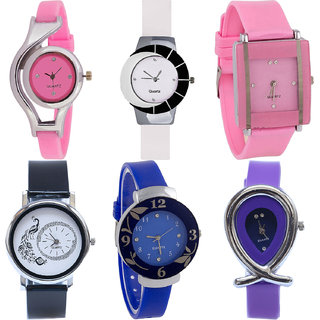 Neutron New Love World Cup,Peacock,Flower And Fish Shape Analogue Pink,White,Black,Blue And Purple Color Girls And Women Watch - G3-G11-G14-G18-G25-G54 (Combo Of  6 )