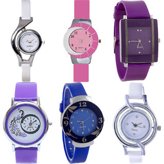 Neutron Brand New Casual World Cup,Peacock And Flower Analogue White,Pink,Purple And Blue Color Girls And Women Watch - G6-G9-G15-G21-G25-G50 (Combo Of  6 )