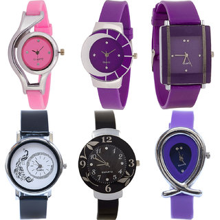 Neutron New Collection World Cup,Peacock,Flower And Fish Shape Analogue Pink,Purple And Black Color Girls And Women Watch - G3-G10-G15-G18-G24-G54 (Combo Of  6 )