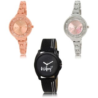 Neutron Modern Valentine Flower And Wife Analogue Gold,Silver And Black Color Girls And Women Watch - Gl225-Gl226-Gl234 (Combo Of  3 )