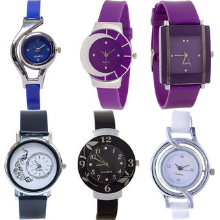 Neutron Modish Casual World Cup,Peacock And Flower Analogue Blue,Purple,Black And White Color Girls And Women Watch - G2-G10-G15-G18-G24-G50 (Combo Of  6 )