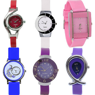 Neutron Brand New High Quality World Cup,Peacock,Flower And Fish Shape Analogue Red,White,Pink,Blue And Purple Color Girls And Women Watch - G5-G11-G14-G19-G27-G54 (Combo Of  6 )