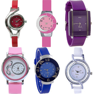 Neutron Treading Traditional World Cup,Peacock And Flower Analogue Red,Pink,Purple,Blue And White Color Girls And Women Watch - G5-G9-G15-G20-G25-G50 (Combo Of  6 )