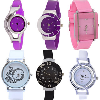 Neutron Brand New Branded World Cup,Peacock And Flower Analogue Purple,Pink,White And Black Color Girls And Women Watch - G4-G10-G14-G23-G24-G50 (Combo Of  6 )