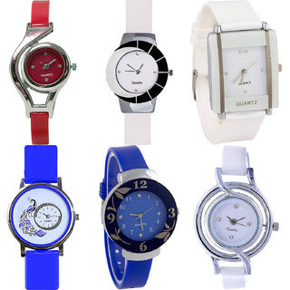 Neutron Brand New Model World Cup,Peacock And Flower Analogue Red,White And Blue Color Girls And Women Watch - G5-G11-G17-G19-G25-G50 (Combo Of  6 )
