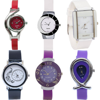 Neutron Classical Royal World Cup,Peacock,Flower And Fish Shape Analogue Red,White,Black And Purple Color Girls And Women Watch - G5-G11-G17-G18-G27-G54 (Combo Of  6 )