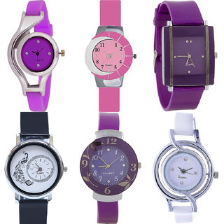 Neutron Treading Fashionable World Cup,Peacock And Flower Analogue Purple,Pink,Black And White Color Girls And Women Watch - G4-G9-G15-G18-G27-G50 (Combo Of  6 )