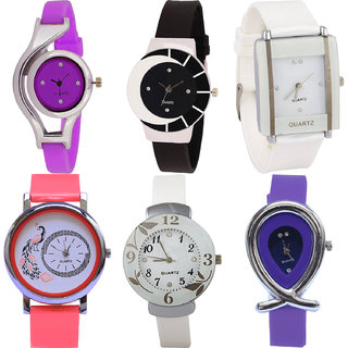 Neutron Classical Gift World Cup,Peacock,Flower And Fish Shape Analogue Purple,Black,White And Red Color Girls And Women Watch - G4-G8-G17-G22-G28-G54 (Combo Of  6 )