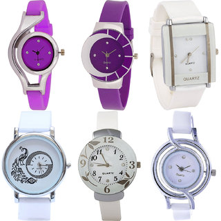 Neutron Contemporary Traditional World Cup,Peacock And Flower Analogue Purple And White Color Girls And Women Watch - G4-G10-G17-G23-G28-G50 (Combo Of  6 )