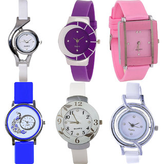 Neutron Modish Branded World Cup,Peacock And Flower Analogue White,Purple,Pink And Blue Color Girls And Women Watch - G6-G10-G14-G19-G28-G50 (Combo Of  6 )