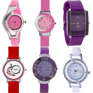 Neutron Modern Love World Cup,Peacock And Flower Analogue Pink,Purple,Red And White Color Girls And Women Watch - G3-G9-G15-G22-G27-G50 (Combo Of  6 )