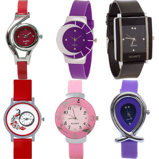 Neutron Best Love World Cup,Peacock,Flower And Fish Shape Analogue Red,Purple,Black And Pink Color Girls And Women Watch - G5-G10-G12-G22-G26-G54 (Combo Of  6 )