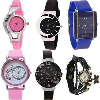 Neutron Modish Model World Cup,Peacock,Flower And Butterfly Analogue Pink,Black And Blue Color Girls And Women Watch - G3-G8-G13-G20-G24-G58 (Combo Of  6 )