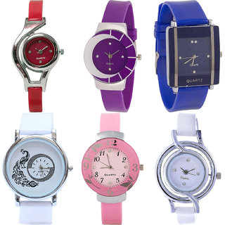 Neutron Modish Gift World Cup,Peacock And Flower Analogue Red,Purple,Blue,White And Pink Color Girls And Women Watch - G5-G10-G13-G23-G26-G50 (Combo Of  6 )
