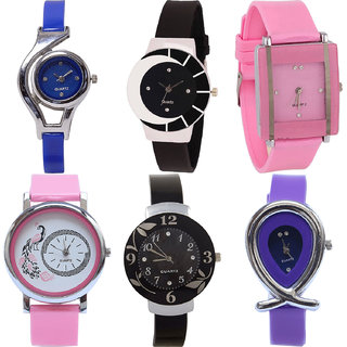 Neutron Modern Fashionable World Cup,Peacock,Flower And Fish Shape Analogue Blue,Black,Pink And Purple Color Girls And Women Watch - G2-G8-G14-G20-G24-G54 (Combo Of  6 )