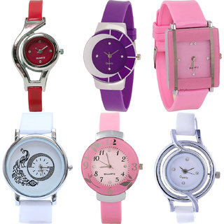 Neutron Classical Fancy World Cup,Peacock And Flower Analogue Red,Purple,Pink And White Color Girls And Women Watch - G5-G10-G14-G23-G26-G50 (Combo Of  6 )