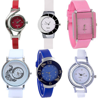 Neutron Classical Professional World Cup,Peacock And Flower Analogue Red,White,Pink And Blue Color Girls And Women Watch - G5-G11-G14-G23-G25-G50 (Combo Of  6 )