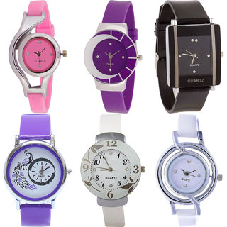 Neutron Modern Style World Cup,Peacock And Flower Analogue Pink,Purple,Black And White Color Girls And Women Watch - G3-G10-G12-G21-G28-G50 (Combo Of  6 )