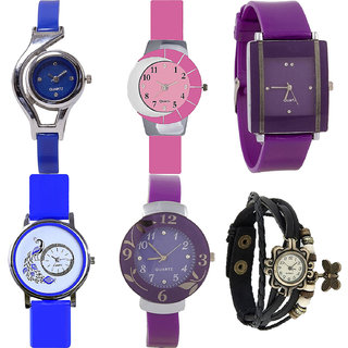 Neutron Modish Gift World Cup,Peacock,Flower And Butterfly Analogue Blue,Pink,Purple And Black Color Girls And Women Watch - G2-G9-G15-G19-G27-G58 (Combo Of  6 )