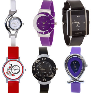 Neutron Treading Royal World Cup,Peacock,Flower And Fish Shape Analogue White,Purple,Black And Red Color Girls And Women Watch - G6-G10-G12-G22-G24-G54 (Combo Of  6 )