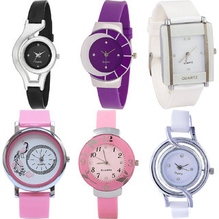 Neutron Latest Fancy World Cup,Peacock And Flower Analogue Black,Purple,White And Pink Color Girls And Women Watch - G1-G10-G17-G20-G26-G50 (Combo Of  6 )