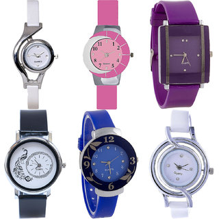 Neutron Best Casual World Cup,Peacock And Flower Analogue White,Pink,Purple,Black And Blue Color Girls And Women Watch - G6-G9-G15-G18-G25-G50 (Combo Of  6 )