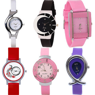 Neutron Modern Casual World Cup,Peacock,Flower And Fish Shape Analogue White,Black,Pink,Red And Purple Color Girls And Women Watch - G6-G8-G14-G22-G26-G54 (Combo Of  6 )