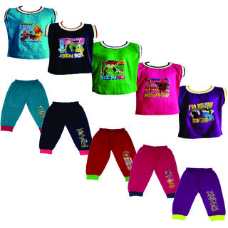 Om Shree Cotton Sleeves T-shirt With Cup Pant Pack of 5 (Till 5 Years)