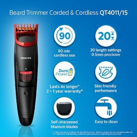 Box open Philips Beard Trimmer Cordless and Corded for Men QT4011/15