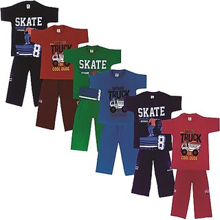 Om Shree Kids Casual T-shirt Pant Pack of 6 (Till 5 Years)