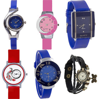 Neutron Latest 3D Design World Cup,Peacock,Flower And Butterfly Analogue Blue,Pink,Red And Black Color Girls And Women Watch - G2-G9-G13-G22-G25-G58 (Combo Of  6 )