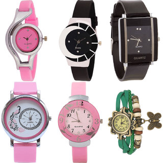 Neutron Best Style World Cup,Peacock,Flower And Butterfly Analogue Pink,Black And Green Color Girls And Women Watch - G3-G8-G12-G20-G26-G60 (Combo Of  6 )