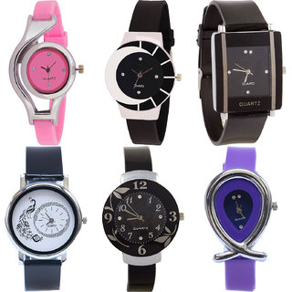 Neutron Classical Technology World Cup,Peacock,Flower And Fish Shape Analogue Pink,Black And Purple Color Girls And Women Watch - G3-G8-G12-G18-G24-G54 (Combo Of  6 )