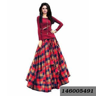 Multicolored Checked Art Silk Lehenga Cholis-Tmmm133