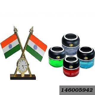 Combo Of Indian Flag With Clock And My Tone Grace Car Air Freshener Perfume (Single Perfume - Assorted Color)