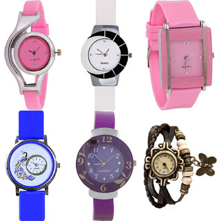 Neutron Modern Royal World Cup,Peacock,Flower And Butterfly Analogue Pink,White,Blue,Purple And Brown Color Girls And Women Watch - G3-G11-G14-G19-G27-G61 (Combo Of  6 )
