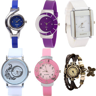 Neutron Brand New Italian Designer World Cup,Peacock,Flower And Butterfly Analogue Blue,Purple,White,Pink And Brown Color Girls And Women Watch - G2-G10-G17-G23-G26-G61 (Combo Of  6 )