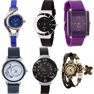 Neutron Latest Model World Cup,Peacock,Flower And Butterfly Analogue Blue,Black,Purple And Brown Color Girls And Women Watch - G2-G8-G15-G18-G24-G61 (Combo Of  6 )