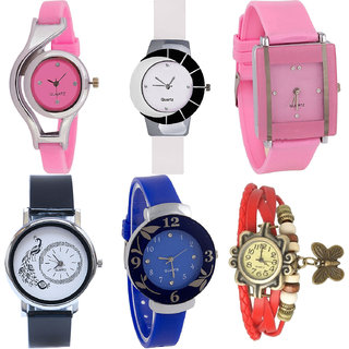 Neutron Best Love World Cup,Peacock,Flower And Butterfly Analogue Pink,White,Black,Blue And Red Color Girls And Women Watch - G3-G11-G14-G18-G25-G65 (Combo Of  6 )
