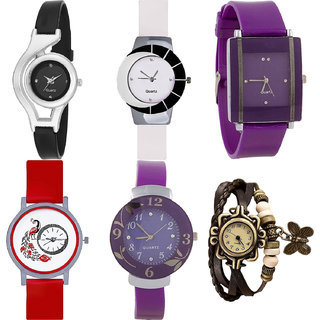 Neutron Modern Royal World Cup,Peacock,Flower And Butterfly Analogue Black,White,Purple,Red And Brown Color Girls And Women Watch - G1-G11-G15-G22-G27-G61 (Combo Of  6 )